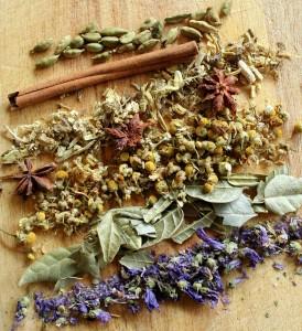 Plantas para infusiones. Imagen mezcla de hierbas