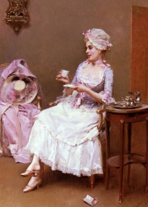 Planta para infusiones. Imagen pintura de epoca con mujer tomando Infusión