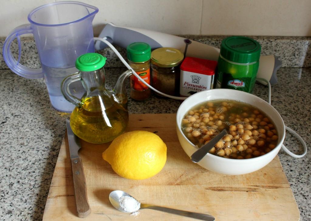 Hummus de garbanzos. Imagen ingredientes para hummus