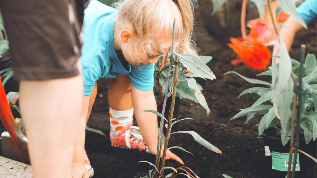 niños sembrando plantas