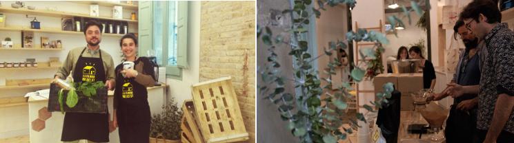 SlowMov Barcelona, notas naturales, local, personas en un local