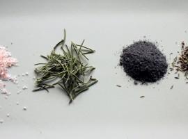 sal aromatizada, sal del himalaya, romero, sal negra, tomillo, hierbas, notas naturales