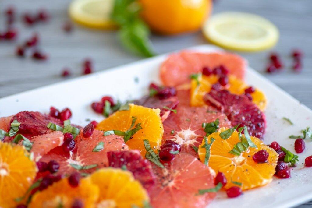 ensalada con naranja y pomelo