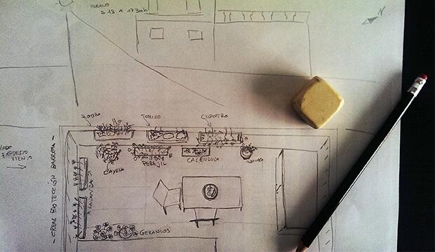 diseño de jardines, boceto jardin en balcon, notas naturales