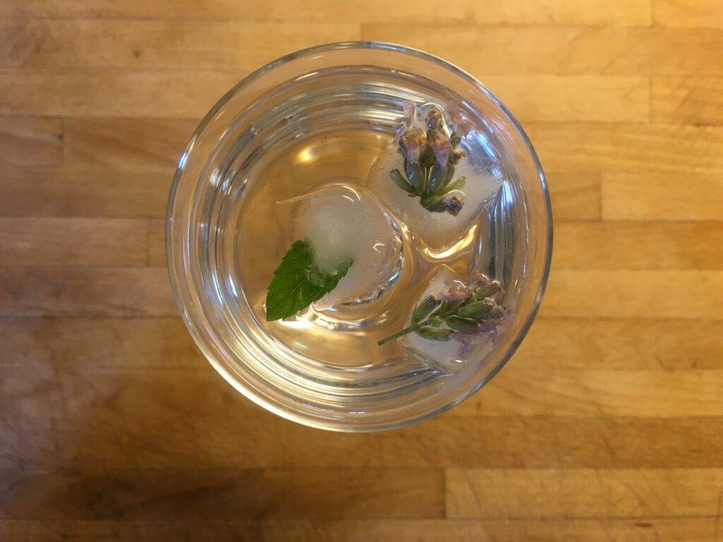 vaso de agua aromatizada con hierbas aromaticas