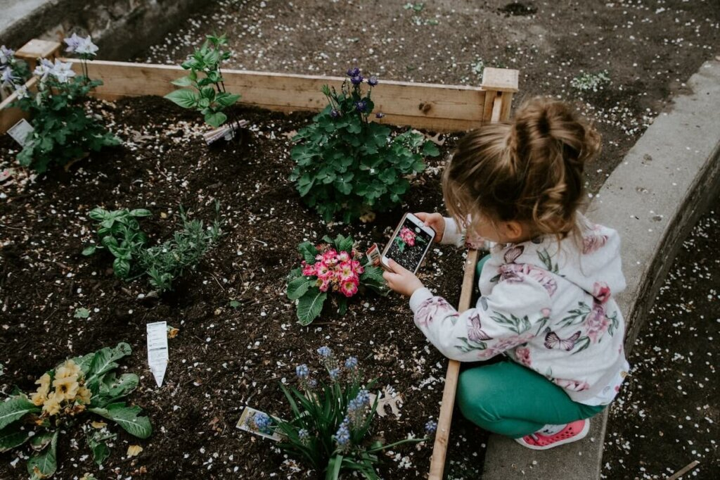 una niña aprende a conocer y cultivar plantas, acciones importantes para aprender a respetar la vida silvestre