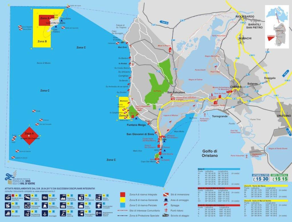 mapa penisola del sinis