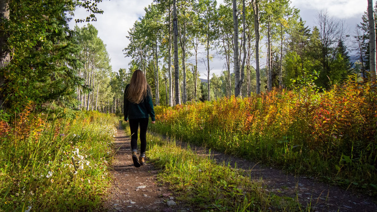 mujer camina por un entorno natural para practicar el Shinrin Yoku (baño de bosque)