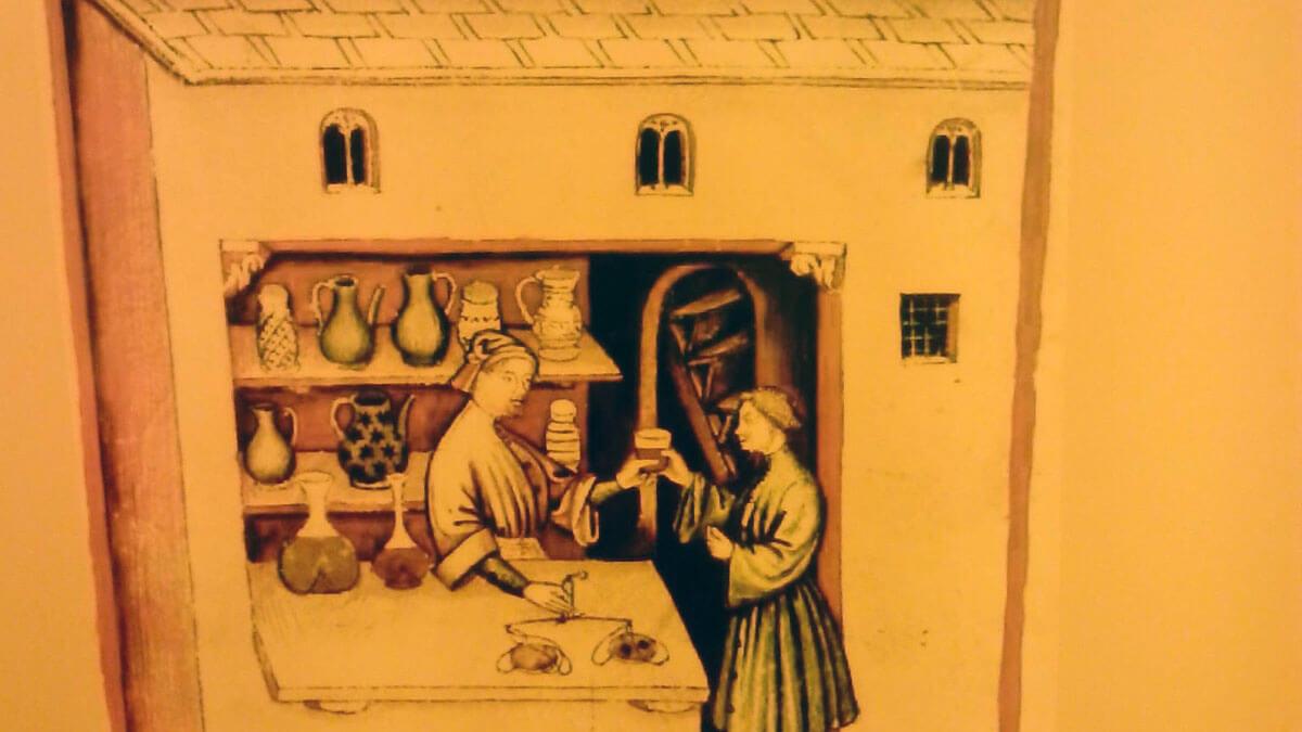 ilustracion de apotecario medieval, santa hildegarda de bingen